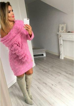 Oversize strickkleid Stiefelkleid Strickpullover Longpullover schulterfrei Carmen Ausschnitt Blogger Pullover passt bei M-XL