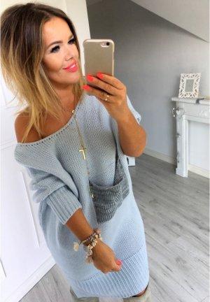 Oversize strickkleid Strickpullover Stiefel Kleid schulterfrei Longpullover mit Cut Out Rücken passt bei M-XXL