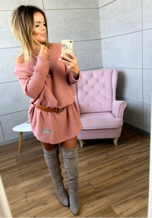 Oversize Strickleid Strickpullover Stiefelkleid schulterfrei Carmen Ausschnitt Blogger Pullover passt bei M-XXL