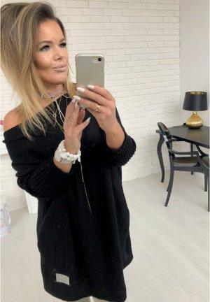 Oversize Strickpullover Longpullover Blogger Sweater Jumper Strickkleid Stiefelkleid in Pastellfarbe leicht Schulterfrei Carmen Ausschnitt M-XXL