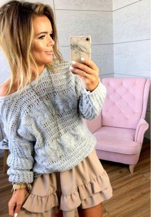 Oversize Strickpullover NEU ✔ Pulli grau Cut out´s Blogger Sweater Jumper  leicht Schulterfrei Carmenausschnitt passt bei M-XL