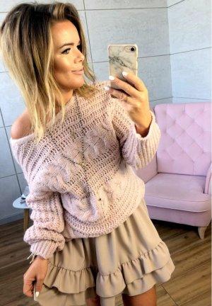 Oversize Strickpullover NEU ✔ Pulli Puder Rose´Cut out´s Blogger Sweater Jumper leicht Schulterfrei Carmenausschnitt passt bei M-XL
