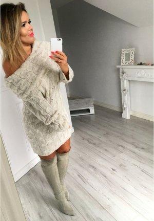 Oversize Strickpullover strickkleid Longpullover Stiefelkleid schulterfrei Carmen Ausschnitt passt bei M-XL
