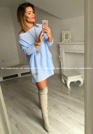 Oversize Strickpullover Strickkleid Stiefelkleid Longpullover Minikleid knielang schulterfreier Ausschnitt / Carmen Ausschnitt Puderblau passt bei M-XL