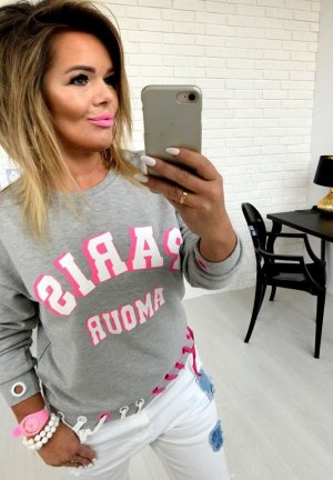 Oversize Sweater Cut out´s mit Kordel in PINK tollerPullover Jumper Blogger Pulli  passt bei S-L