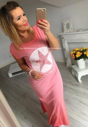 Oversize Sweatkleid Maxikleid Blogger langes Kleid bodenlang Stern Star BLING BLING Sommerkleid passt S-L