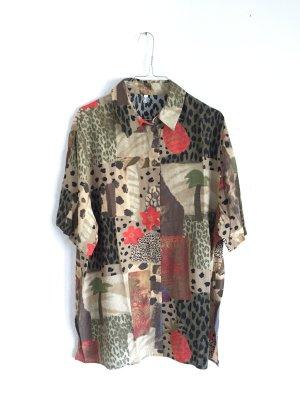 Oversize vintage kurzärmelige Bluse in Naturfarben mit tropical Muster