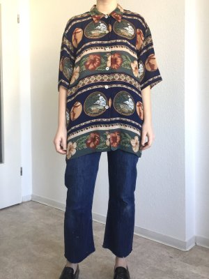 Oversize vintage kurzärmelige Bluse mit bedrucktem Hawaii Style Blumenmuster
