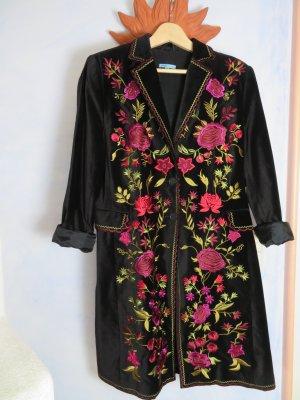 Oversize Vintage Pluspunkt Embroidery Samt Mantel schwarz 40 42 reich bestickt hochwertig Herz Moden