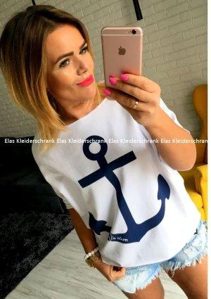 Oversize Vokuhila Sweater Anker Maritim Sailor Beach Shabby Shirt Top schulterfrei Tunika Pulli Oberteil passt bei M-XL