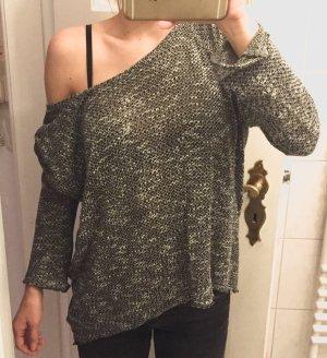 Oversize Zara Pulli in grau/schwarz