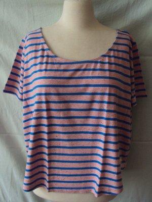 Oversized blau-rosa gestreiftes T-Shirt von Superdry