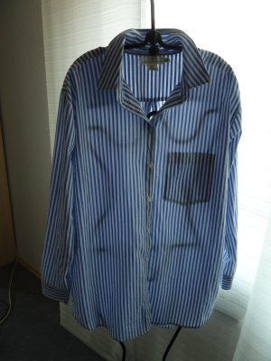 H&M L.O.G.G. Oversized blouse azuur-wit Katoen