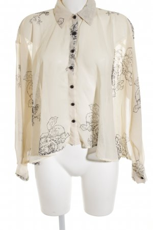 Oversized Bluse creme-schwarz abstraktes Muster Street-Fashion-Look