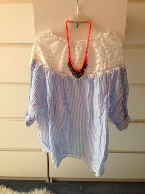Oversized Bluse gestreift mit strickdetail wie neu