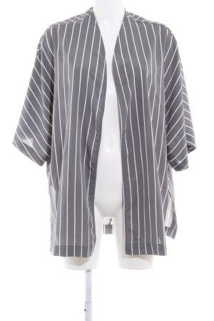 Blouse oversized gris-blanc motif rayé style Boho
