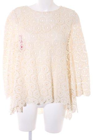 Oversized Bluse hellbeige Ornamentenmuster Romantik-Look