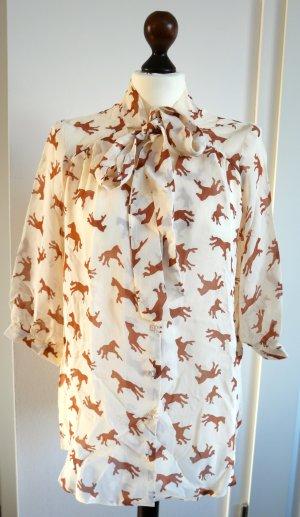 Oversized Bluse in creme mit Pferden, NEU