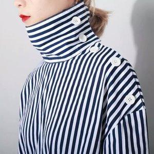100 Oversized blouse wit-donkerblauw