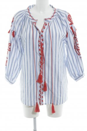 Oversized Blouse white-cornflower blue striped pattern Aztec print