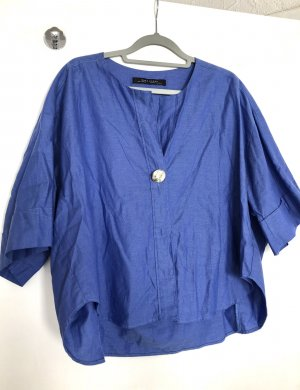 Zara Woman Oversized Blouse blue-dark blue