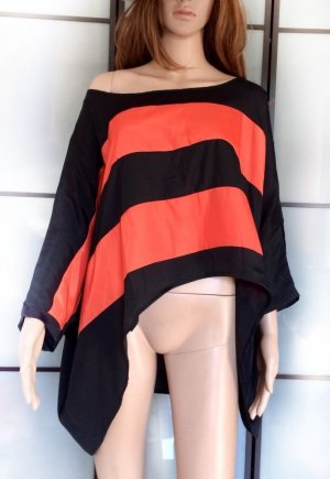 Blouse Top black-orange viscose
