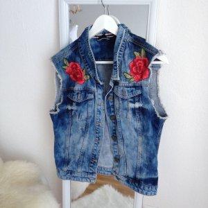 Oversized DIY Jeansweste Rosen Stickerei Blumen Embroidery Used Boyfriend  S M