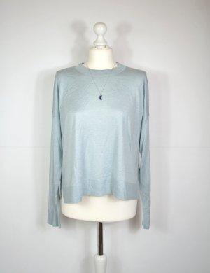 Oversized Feinstrick Pullover in Hellblau