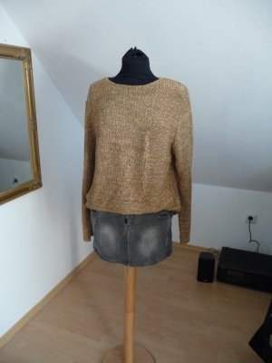 Oversized Gold Strick Pulli Glitzer 40