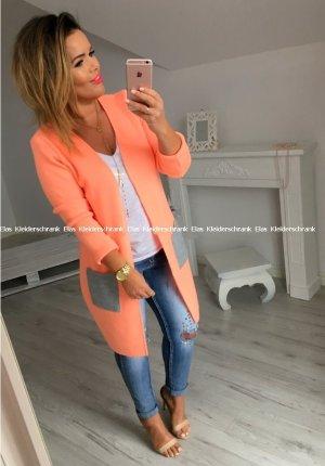 Oversized Jacke in neon Orange Cape Poncho Cardigan Stola passt S-XL
