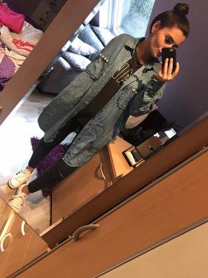 Zara Chemise en jean bleu acier-blanc