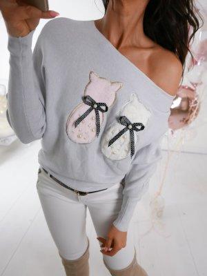Oversized Sweater azure-white