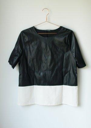 Oversized Lederimitat Shirt schwarz weiß Atmosphere Primark 38 Blogger Hipster