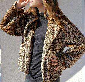 Oversized Leo Jacke Grunge Kate Moss Fake Fur - Kunstfell Teddy Fell mit Leoparden