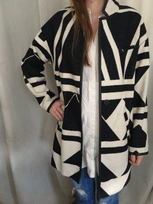 Oversized Mantel Muster Weiß Dunkelblau Zara Gr. M
