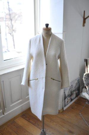 Oversized Mantel, weiß, edel, goldene Beschläge, Zara