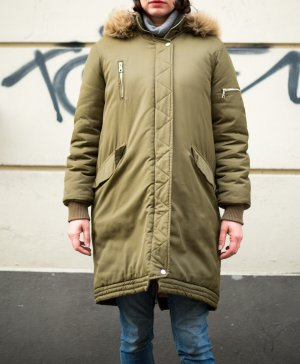 Edited Manteau oversized vert olive-rose fluo