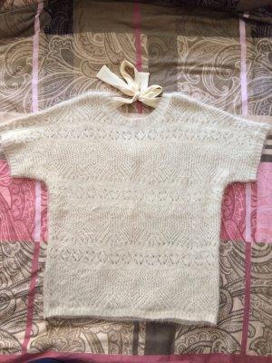 Cream Jersey de manga corta crema tejido mezclado