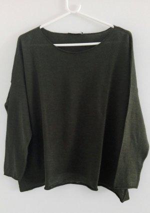 Oversized Pullover 3/4-ärmelig, tannengrün von Zara