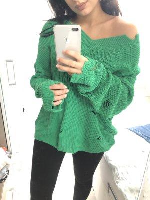 Oversized Pullover Grün V- Ausschnit Zerissen Stil