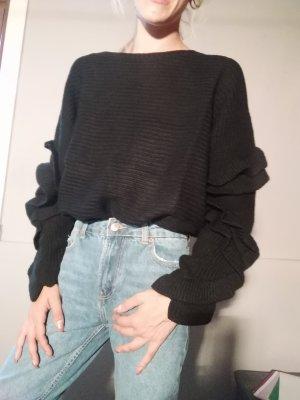 oversized Pullover mit Rüschen