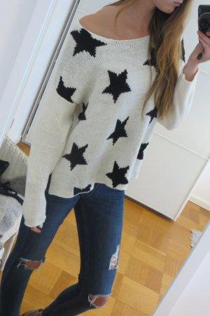 Oversized Pullover Mit Sternen black & white