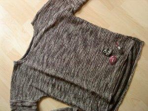 Oversized Pullover schwarz/grau meliert / Applikationen L