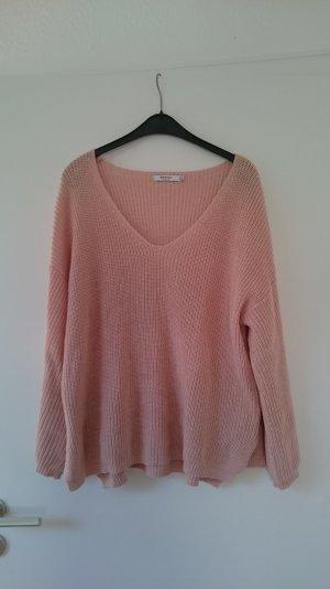 Oversized Pullover Strick in rosa