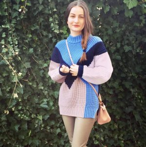 Oversized Pullover Trend Color blocking 34