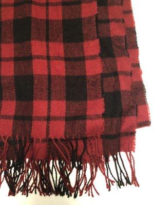 Oversized Schal rot schwarz