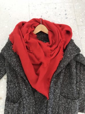 Even & Odd Fringed Scarf red