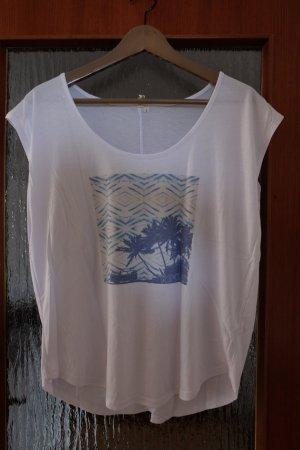 Rip curl Oversized shirt wit-babyblauw Gemengd weefsel