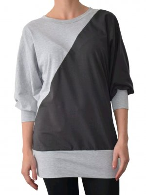 Oversized-Shirt in Hellgrau-Anthrazit