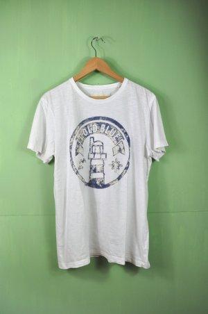 Oversized Shirt in Weiß mit samtenen Schriftzug und Logo